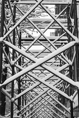 Snowbound (marktmcn) Tags: snowcovered snow covered scaffolding metal scaffold structure cross pattern patterned crossing crossings repetition madison avenue manhattan new york city blackandwhite monochrome dsc rx100