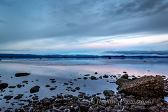 Looking East Across Georgia Straight (Roshine Photography) Tags: slowshutter eveninglight comox pointhomes salishsea environmental reflection sunset winter landscape cooltones calmwater lowtide rocks britishcolumbia canada ca