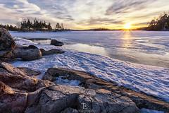 March sun (Taavi Salakka) Tags: lappeenranta finland lake saimaa winter 2017 ice snow water sky sunset dusk rocks stones cloudsinsunset canon 5d canon5d 1740mm wideangle natureoffinland nature