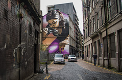 Glasgow Giant Woman (Brian Travelling) Tags: street streetart glasgow buildings lane mitchellstreetlane scotland urban pentaxkr pentax pentaxdal