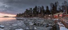 Breaking the ice (Animathika) Tags: finland helsinki lauttasaari sunset frozensee frozen mirrorless sony sonya6300 cabininthewoods colorsofthesun sunsetcolors skycolors