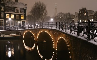Amsterdam canals on a winter evening