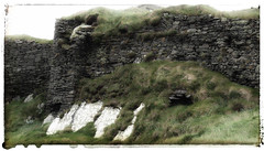 Stone wall of castle ruins at Galley Head in Ireland painted in the photo app Snapseed (elizabatz.jensen) Tags: stone wall castle ruins galleyhead ireland painted photoapp stackables snapseed