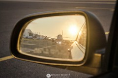 objects in the mirrow are closer than they appear (spotter503) Tags: mirrow sunset warm car e190 mslp airplane aircraft tow landscape nikkor nikon d5100 reflejo escolta spotter503 spotting orange atardecer aviacion closer