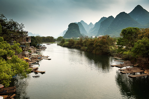 Looking the other way from the Dragon Bridge on the Yulong River near Yangshuo,