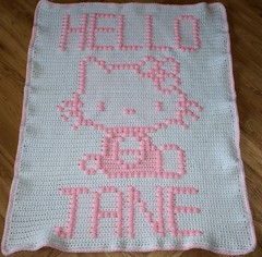 Hello Kitty Blanket for Jane (dochol) Tags: hello cats baby chart cute wool cat handmade hellokitty crafts name crochet graph yarn blanket afghan bebe alphabet manta babyblanket personalised croche babyname crochethooks
