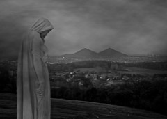 """""""sweet is sleep to me, and even more to be of stone, while the wrong and shame endure..."""" (Glaneuse) Tags: woman mist monument graveyard statue fog dark sadness evening blackwhite gloomy cemetary crying tragedy plain slagheap coalmines coaltip"""