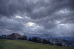 Napf - Early morning (Captures.ch) Tags: blue trees sunset cliff house storm green night clouds dark schweiz switzerland gray earlymorning rays emmental trub napf