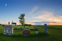 Little Church On The Prairies (Nelepl) Tags: sunset panorama moon canada church grass clouds landscape cemetary tombstone manitoba moonlight prairies hdr sigma2470 nikond600 nelepl