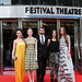 Amy Manson, Freya Mavor, Stanley Weber Kate Dickie, and Karen Gillan arriving for the World Premiere of Not Another Happy Ending at Festival Theatre