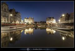 Ghent - The hidden pearl of Belgium (Erroba) Tags: city light water night canon reflections boats belgium belgique belgi erlend ghent gent graslei reien korenlei hooiaard erroba robaye 5dmarkiii