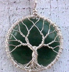 Green Jasper Tree of Life Pendant (ethorart) Tags: green silver circle spiral necklace wire jasper recycled handmade cab wrapped jewelry knot round handcrafted sterling pendant treeoflife 925 ecofriendly reclaimed cabochon greengemstone ethora