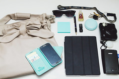 what's in my bag? (amandapanda♥) Tags: sunglasses bag keys phone wallet battery purse pens whatsinmybag ipad instaxcamera