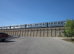 another farewell to the 2200-series CTA cars, past Harlem Green Line station (katherine of chicago) Tags: cta forestpark 2200series 2200seriesfinalrun
