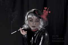 up in smoke (TheLondonHorrorShow) Tags: portrait woman hat female cigarette makeup rubber smoking latex cigaretteholder