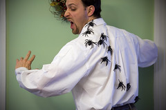 Get 'Em Off Me! Get 'Em Off Me! (theothernate) Tags: halloween costume spiders sewing creative jiggly gross arachnids crawling arachnophobia icky creeping dressshirt inventive 8legs rubberspiders vision:outdoor=0611 jigglyspiders