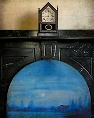 Reflections of Another Century: A Secret Victorian Mansion, Eastern North Carolina (EdgecombePlanter) Tags: blue clock architecture nc northcarolina fancy marble oilpainting firebox lostintime anotherera marblemantel
