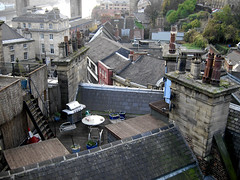 Roof Top Barbie (Lady Wulfrun) Tags: chimney rooftop rooftops barbie bbq tiles newcastleupontyne rivertyne rooftiles chimneytops downbelow