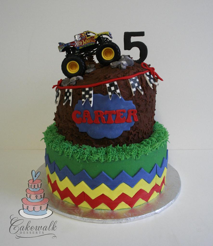 MONSTER TRUCK CAKE (cakewalkdesserts) Tags: birthday cake mud chevron ...