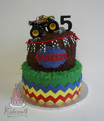 MONSTER TRUCK CAKE (cakewalkdesserts) Tags: birthday cake mud chevron monstertruck