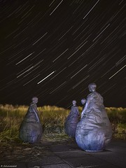 The weebles. (rickyschonewald) Tags: uk longexposure sculpture grass night stars northeast southshields weebles startrail nikond3100 rickyschonewald