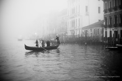 Crossing Grand Canal, Venice (jev) Tags: leica venice blackandwhite italy mist ecology monochrome weather fog environment gondola noctilux environmentalism grandcanal ecosystem nocti leicam9 noctiluxm50mmf095asph leicaimages