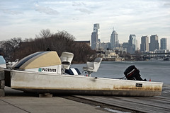 waiting for the thaw (lucymagoo_images) Tags: sony rx100 philadelphia philly phila urban winter boat river frozen schuylkill ice february skyline cityscape buildings dock docked boathouse cloudy hdr sky clouds lucymagoo lucymagooimages cold weather