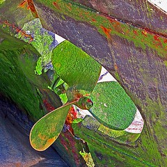 green (stephen mcgahon) Tags: screw boat fishing cornwall harbour algae propeller stives