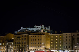 Fortress Hohensalzburg in the night