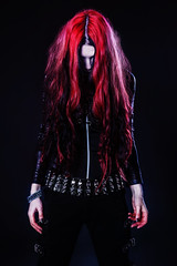 Young goth girl (getmilitaryphotos) Tags: red woman black girl leather dark hair dead death scary blood dress vampire zombie gothic goth protest evil horror demon devil undead accessories nightmare redhair daemon subculture gothicstyle gothicgirl