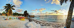 HDR - 230fuse1 Stitch3 (mastrfshrmn) Tags: ocean sea panorama sun moon beach water colors canon stars island photo sand scenery paradise belize picture palmtrees hut photograph cabana tropical hdr kayaks centralamerica atoll 70d turneffeisland turneffeatoll blackbirdcaye