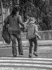 Mother with Daughter (Kojotisko) Tags: people bw monochrome brno cc creativecommons czechrepublic streetphoto persons fujifilmfinepix fujifilmfinepixsl1000 fujifilmfinepixsl1000kojotisko