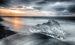 Sunrise At The Beach (Kristinn R.) Tags: sea sky sun ice beach clouds sunrise blacksand iceland nikon jkulsrln nikonphotography breiamerkursandur kristinnr d800e