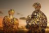 Golden Twins (MrDayglo) Tags: sculpture art shiny yorkshire illuminated lit ysp yorkshiresculpturepark jaumeplensa juameplensa weeklythemedphotography sundaynightphlow