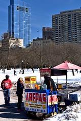 Arepas in the Snow (AntyDiluvian) Tags: boston massachusetts backbay park bostoncommon winter snow arepas stand millenniumtower