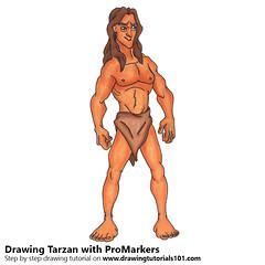 Tarzan with ProMarkers (drawingtutorials101.com) Tags: tarzan cartoons cartoon promarker promarkers color coloring draw drawing drawings sketch sketches sketching how timelapse video speeddrawing