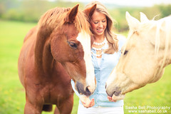 Friendly Horses - Day 239/365 (Sasha L'Estrange-Bell) Tags: portrait horse green girl animal animals horizontal happy happiness chestnut blondegirl twohorses palominohorse chestnuthorse friendlyhorses sashabell horsewithblaze oliviabell sashabellphotography