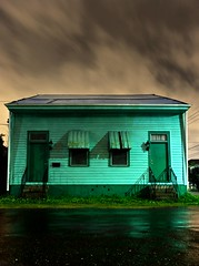 Green - Frank Relle Photograph of House in New Orleans at Night (frankrelle) Tags: lighting street new old house history abandoned home nature overgrown architecture night frank french katrina orleans louisiana flood hurricane picture photograph damage quarter decrepit destroyed dilapidated nightscapes treme relle