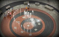 Fountain of Youth (Doris Burfind) Tags: people brick fountain boston stone circle gathering birdseyeview customhousetower