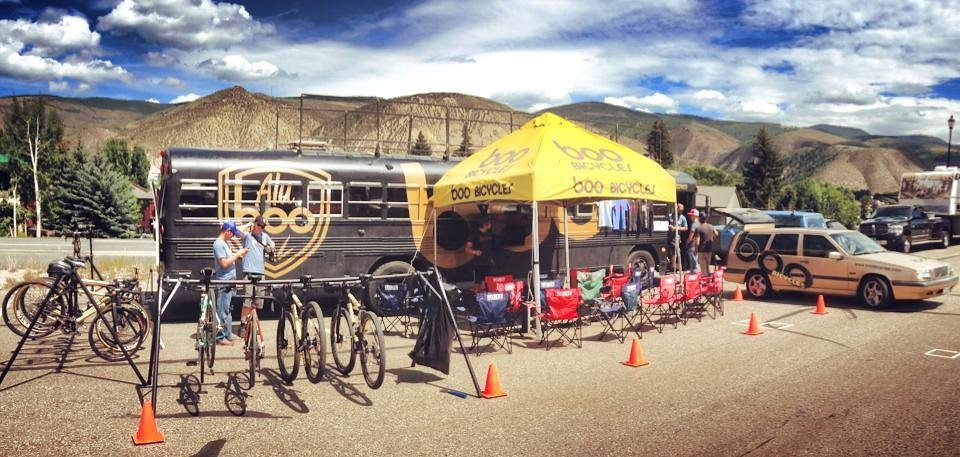 The Boo Bus at the Stage 4 finish at Beaver's Creek... before the crowds, of course.