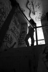 Devilish (jared.ortiz) Tags: lighting light shadow portrait building film set photoshop graffiti stair natural grain 666 evil tags structure line portraiture devil noise rim tagging edit filmgrain slihouette