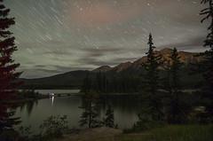 (acreativename) Tags: trees lake canada mountains night stars nikon alberta startrails banffnationalpark pyramidlake d7000