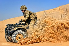 Soldier on a Quad Bike in Afghanistan (Defence Images) Tags: uk camp afghanistan soldier army photography military transport competition photographic equipment vehicle british op operation bastion campaign defense defence quadbike personnel herrick helmand nonidentifiable