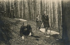 They found something strange in the woods that day... (liquidnight) Tags: old blackandwhite bw monochrome kids forest vintage germany children found lost photo woods antique snapshot poland eerie creepy collection 1940s photograph mysterious vernacular haunting discovery find foundphotos klodzko schlesien