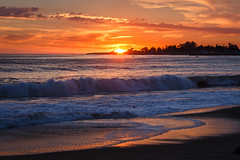Santa Cruz Thanksgiving Sunset (Jeffrey Sullivan) Tags: ocean california santa november sunset copyright santacruz seascape jeff nature weather canon landscape photography coast photo day waves pacific cloudy clear cruz sullivan partly santacruzcounty 2013 5dmarkiii