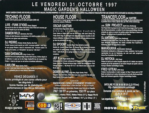 "Patrice Heyoka - Flyer 31/10/1997 - Magic Garden ""Halloween"" (Paris) <a style=""margin-left:10px; font-size:0.8em;"" href=""http://www.flickr.com/photos/110110699@N03/11351645596/"" target=""_blank"">@flickr</a>"