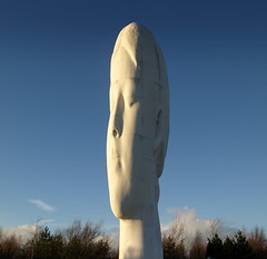 The Dream - 9 (Tony Worrall Foto) Tags: park england sculpture white cold art beauty statue stone female stand cool artist alone open northwest head modernart north bald visit made mines works publicart striki