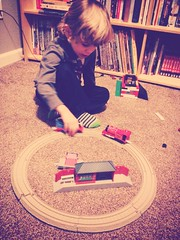 363 of 365 - Round and Round ([ the black star ]) Tags: boy 3 playing train circle toys kid tracks things kingston stuff legos shrug thomasthetankengine preschooler 363365 theblackstar threehundredsixtythree uploaded:by=flickrmobile louisianafilter flickriosapp:filter=louisiana