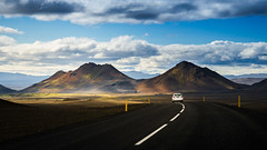 Road trip (Gift of Light) Tags: road trip travel light shadow sky cloud mountain tourism car horizontal dark way landscape drive iceland day afternoon tour line route land illuminate traveler