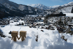 Danbo has visited Shiroyama viewpoint (Takashi(aes256)) Tags: snow landscape viewpoint 岐阜 gifu 雪 風景 shirakawago danbo 白川郷 nikond4 ダンボー 城山展望台 nikonafsnikkor28mmf14g